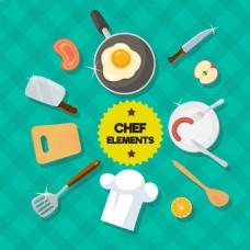 扁平风格厨房用品平面设计素材