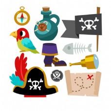 手绘各种海盗元素矢量素材