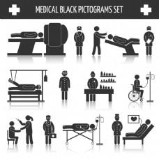 卡通医生和病人