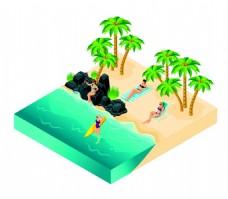 海岸泳装美女漫画图片