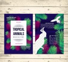 创意热带动物杂志内页矢量素材