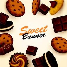 卡通饼干巧克力背景图片