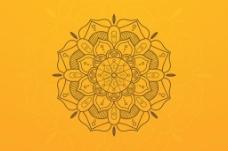 手绘曼陀罗花纹图案黄色背景