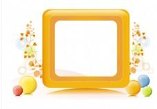 彩色圆球黄色边框背景