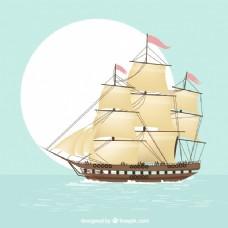 航海帆船的背景
