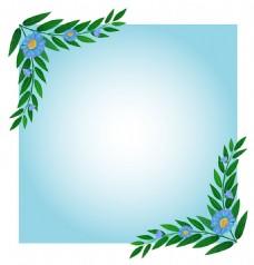 绿色树叶插图花边蓝色渐变背景模板