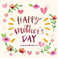 母亲节背景与水彩花