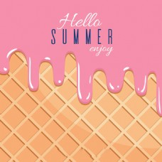 夏天美味融化草莓冰淇淋背景