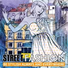 街头时尚女孩背景画