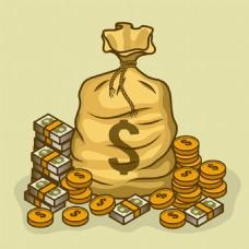 美元符号钱袋金币钞票背景