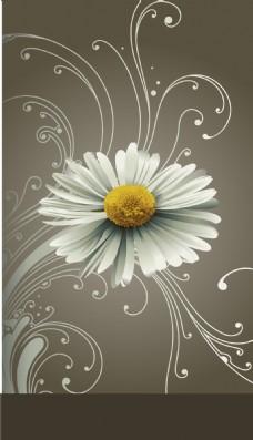 清新白色花朵背景