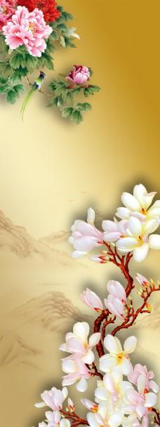 中国风古典花朵展板背景