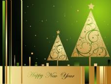 梦幻金色圣诞树背景