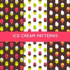 扁平风格彩色冰淇淋装饰图案