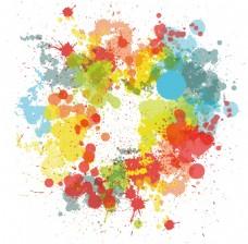 创意泼洒多彩水粉水彩