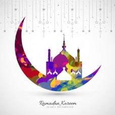 五颜六色的月亮伊斯兰教堂背景
