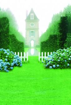 绿色清新城堡背景