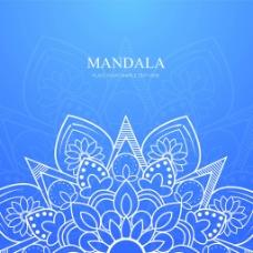 蓝色曼陀罗装饰图案背景