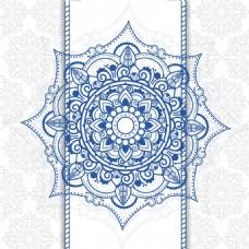 蓝色曼陀罗装饰花纹背景