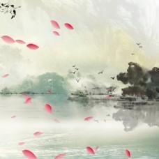中国风山水式海报背景
