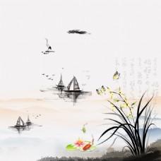 水墨中国风花卉背景