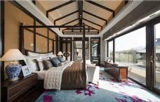 时尚卧室吊顶落地窗设计图