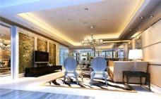 豪华宽敞客厅模型设计