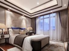 现代别墅卧室装修效果图