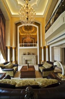 中式豪华别墅客厅装修效果图