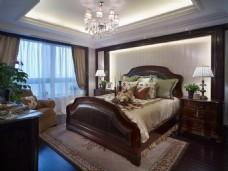 时尚卧室大床吊灯设计图