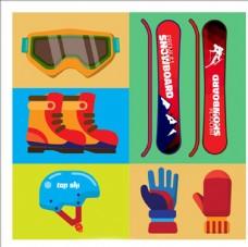 多彩平面滑雪运动用品配件