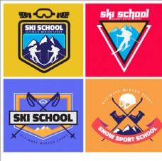 滑雪比赛培训俱乐部标志LOGO