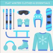 平面蓝色滑雪运动用品配件