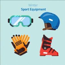 卡通滑雪运动用品配件元素