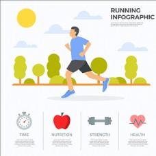 卡通清晨男子跑步信息图表