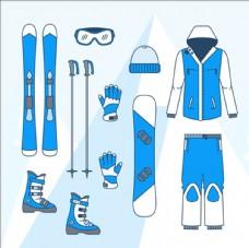 蓝色卡通滑雪运动用品配件