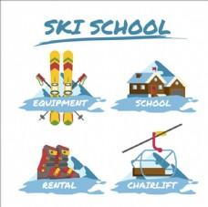 滑雪培训比赛俱乐部标志LOGO