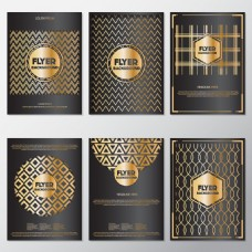 金色抽象图案传单设计
