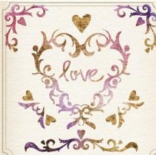 水彩装饰情人节心脏的元素