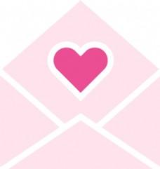 卡通矢量打开的爱心信封可爱爱情素材