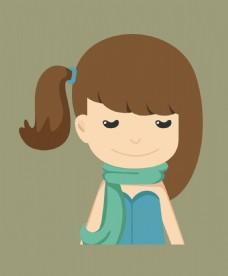 卡通时尚可爱美女EPS