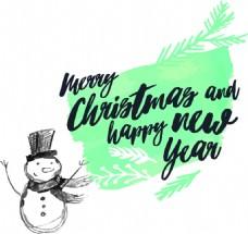 蓝色雪人水彩风格新年快乐矢量素材文件
