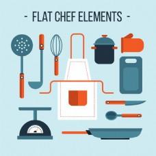扁平风格厨房用品元素矢量素材