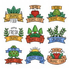 各种水彩风格有机食品贴纸图标