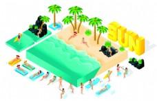 沙滩泳装美女漫画图片