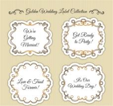 4款金色花边婚礼标签矢量素材