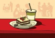 快餐美食蛋糕插画