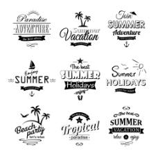 黑色夏季度假标签矢量素材