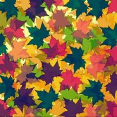 彩色枫叶无缝矢量背景图