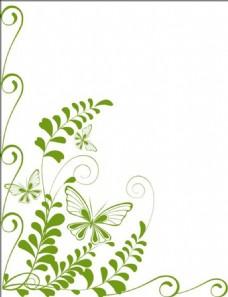 植物蝴蝶背景素材